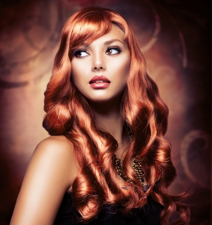 hair: Beautiful Girl With Healthy Long Red Hair