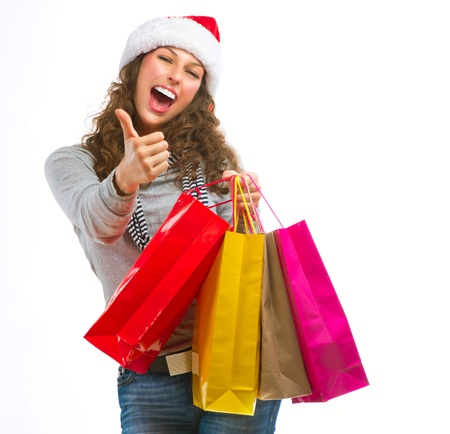 Christmas Shopping  Girl With Bags isolated on White Stock Photo