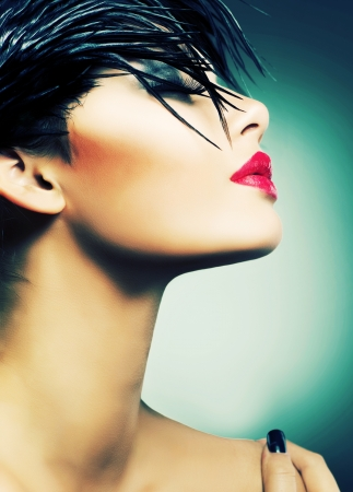 punk hair: Fashion Art Portrait Of Beautiful Girl  Vogue Style Woman