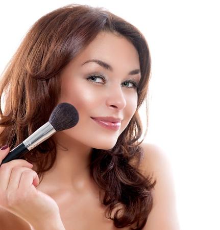 Beautiful Young Woman Applying Makeup Stock Photo - 16216706