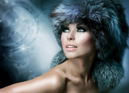 Fashion  Beautiful Girl in Fur Hat  Winter Woman Stock Photo - 16216709
