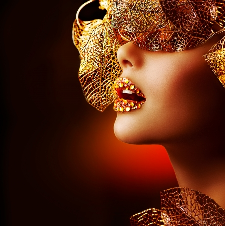 piedras preciosas: Lujo Maquillaje Oro Beautiful Holiday Maquillaje Profesional Foto de archivo