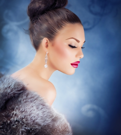 earring: Winter Girl in Luxury Fur Coat  Fashion Fur  Jewelry