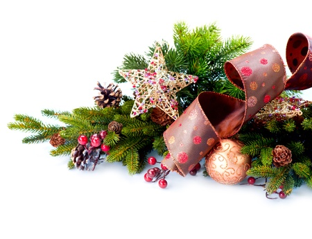 christmas fir: hristmas Decoration  Holiday Decorations Isolated on White