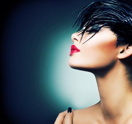 sexy halloween girl: Fashion Art Portrait Of Beautiful Girl  Vogue Style Woman