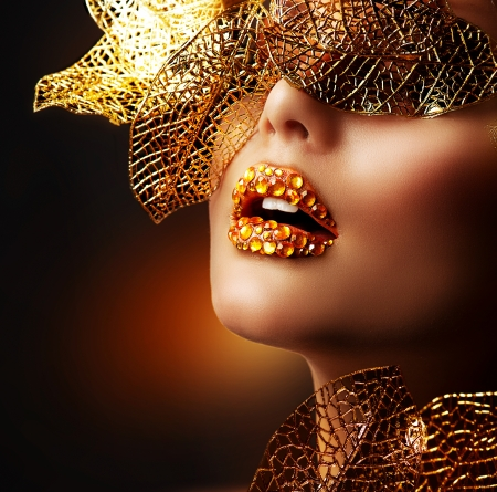 open lips: Luxury Golden Makeup  Beautiful Professional Holiday Make-up