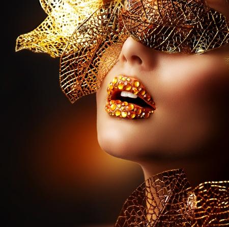 rhinestone: Luxury Golden Makeup  Beautiful Professional Holiday Make-up