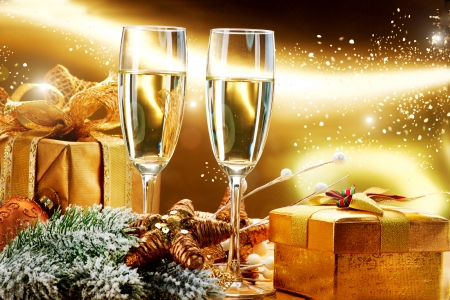 brindisi champagne: Capodanno e Natale Celebrazione Archivio Fotografico