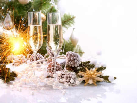 two years: New Year Card Design with Champagne  Christmas Celebration