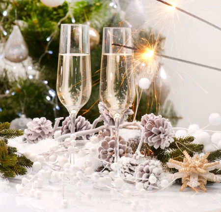 champagne flute: New Year Card Design with Champagne  Christmas Celebration