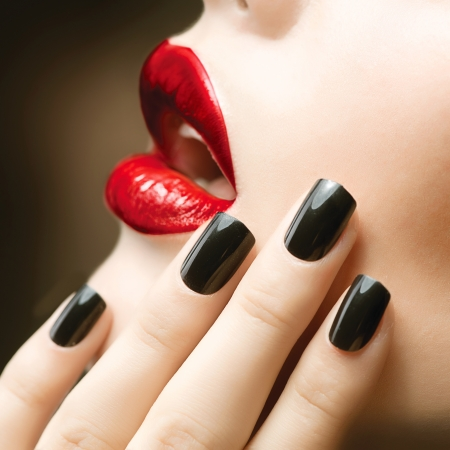Makeup and Manicure  Black Nails and Red Lips  photo