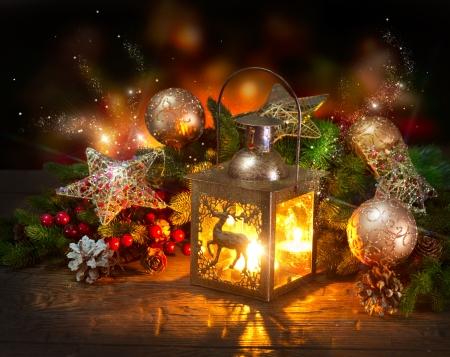 velas de navidad: Escena del d�a de fiesta de dise�o de tarjetas de felicitaci�n Foto de archivo