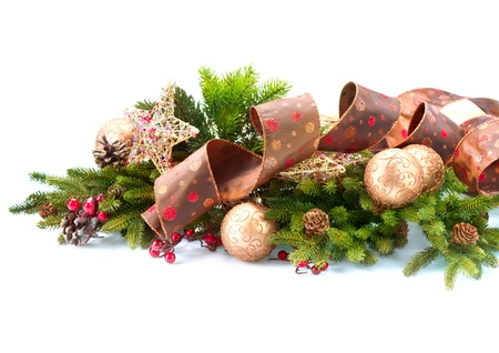 fir cones: Christmas Decorations Isolated on White Background