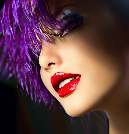 red lip: Fashion Art Girl Portrait With Violet Hair  Hairstyle