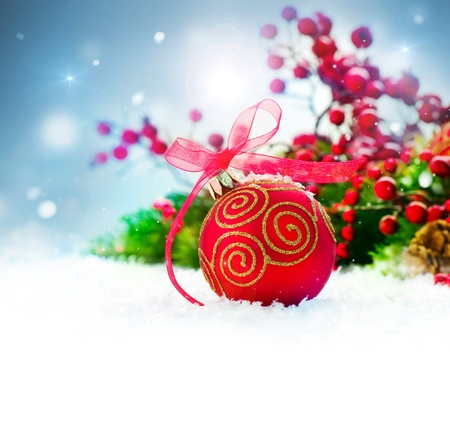 Christmas Holiday Background with Decorations and Snowflakes Stock Photo - 16448849