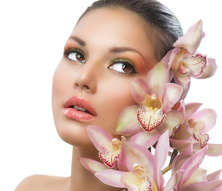 Beautiful Girl With Orchid Flowers  Beauty Woman Face Stock Photo - 16472451