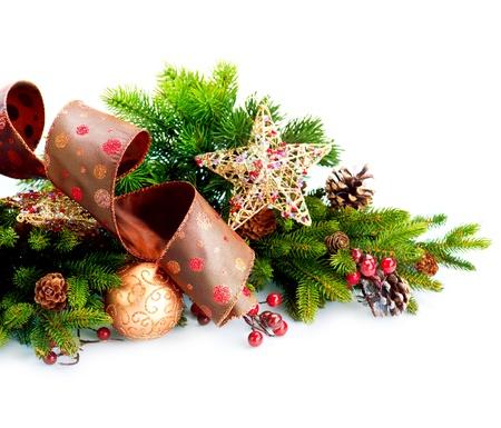 Christmas Decorations Isolated on White Background Stock Photo - 16448885