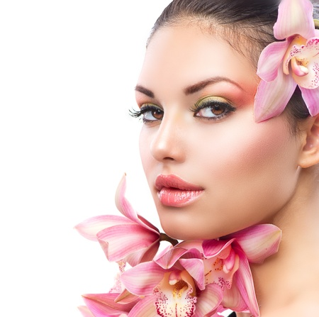 Beautiful Girl With Orchid Flowers  Beauty Woman Face Stock Photo - 16472444