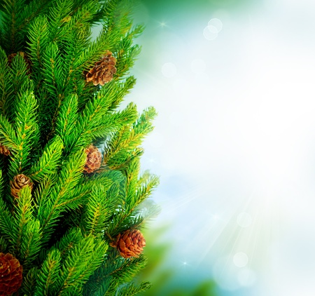 fir twig: Christmas Tree Border Design over Green Blurred background Stock Photo