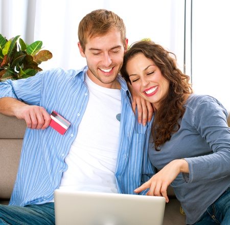 Online Shopping  Couple Using Credit Card to Internet Shop  Stock Photo - 16590209