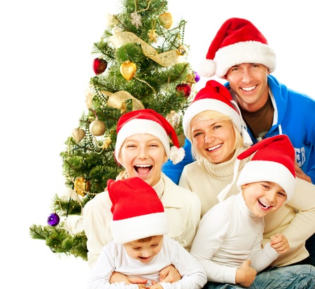 decorating christmas tree: Happy Christmas Family  Big Family with Kids