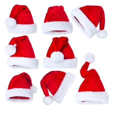 cappello natale: Cappello da Babbo Natale s impostato su bianco Archivio Fotografico