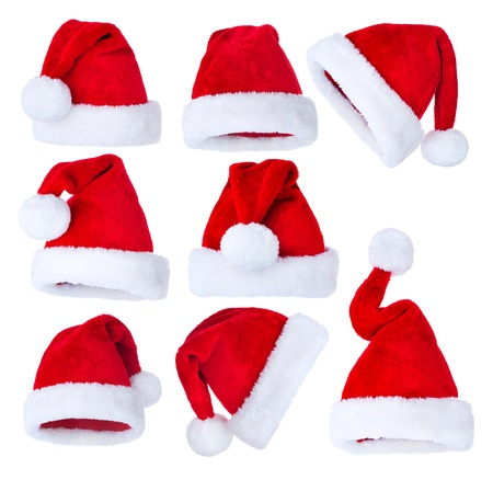 christmas costume: Santa s Hat set over white  Stock Photo