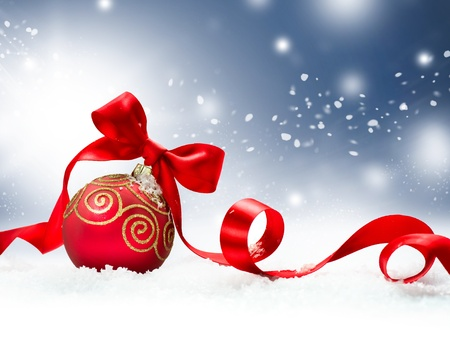 Christmas Holiday Background with Red Bauble and Snow  photo