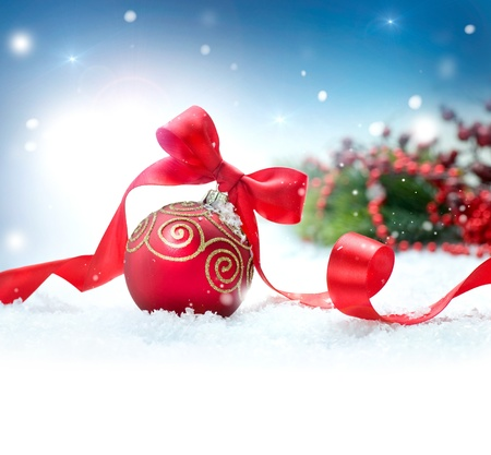 Christmas Holiday Background with Decorations and Snowflakes  photo