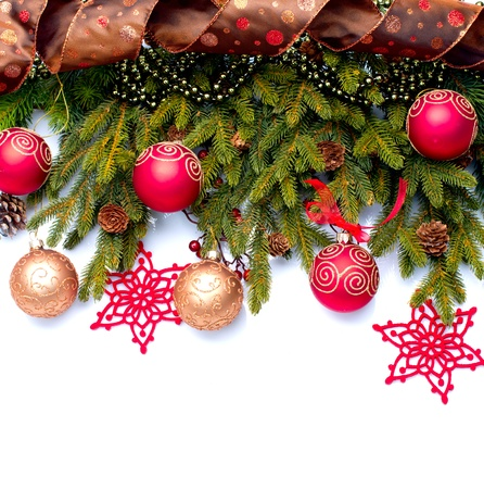 bright decoration color: Christmas Decoration  Holiday Decorations Isolated on White