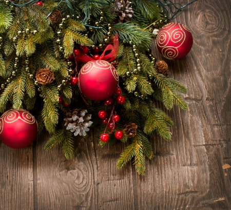 Christmas Decoration  Holiday Decorations over wooden background  photo