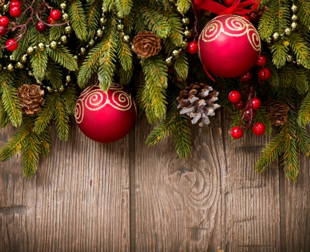 christmas berries: Christmas Over Wooden Background  Decorations over Wood  Stock Photo