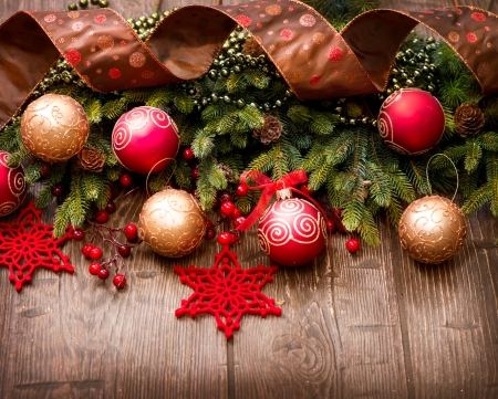 vintage christmas background: Christmas Over Wooden Background  Decorations over Wood  Stock Photo
