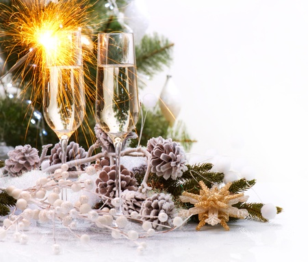 new years eve: Christmas Celebration with Champagne