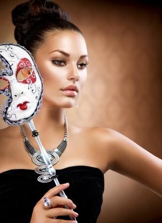 carnaval: Masquerade Schoonheid Meisje met Carnaval Masker Stockfoto