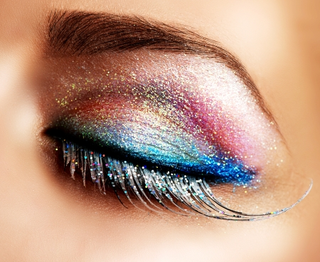 up: Beautiful Eyes Holiday Make-up  False Lashes  Stock Photo