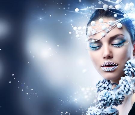 Winter Beauty Woman  Christmas Girl Makeup Stock Photo - 16590133