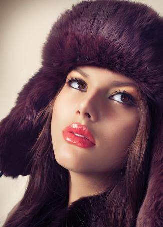 Beauty Fashion Model Girl in a Fur Hat Stock Photo - 16717240