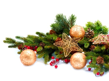 Christmas Decoration  Holiday Decorations Isolated on White Stock Photo - 16696603