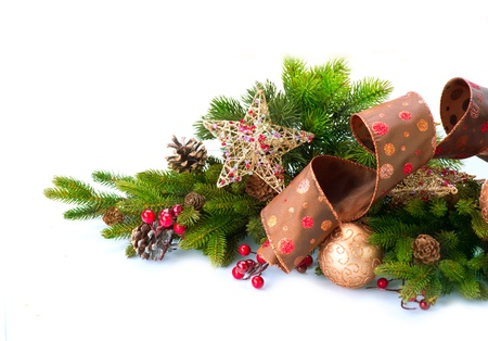 christmas fir: Christmas Decoration  Holiday Decorations Isolated on White