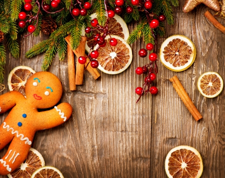 ingwer: Christmas Holiday Background Gingerbread Man Lizenzfreie Bilder