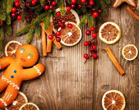 dried spice: Fondo de la Navidad del hombre de pan de vacaciones Foto de archivo