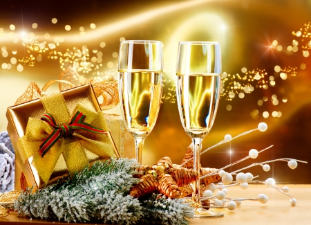 gold flute: New Year and Christmas Celebration  Two Champagne Glasses