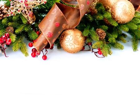gold decorations: Navidad Foto de archivo