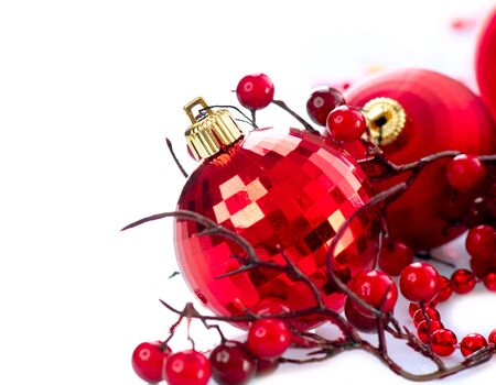 Christmas and New Year Baubles and Decorations isolated on White Stock Photo - 16825509