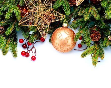 Christmas  New Year Decorations Isolated on White Background  Stock Photo - 16825532