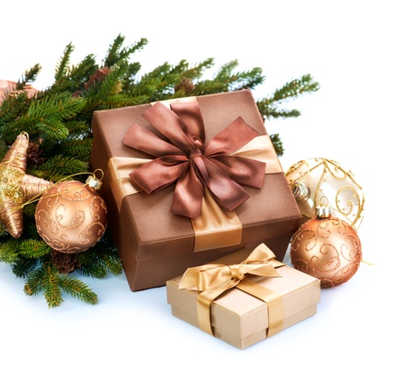Christmas Decoration and Gift Boxes Isolated on White Background  Stock Photo - 16825535