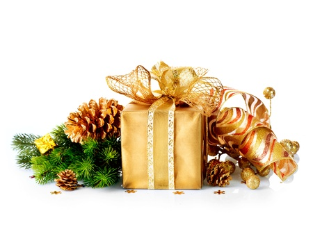 Christmas Gift Box and Decorations isolated on White Background Stock Photo - 16825541
