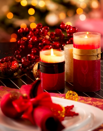 Christmas Table Setting  Holiday Decorations Stock Photo - 16825520