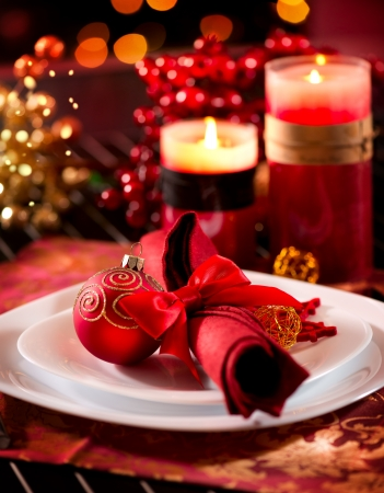 christmas food: Christmas Table Setting  Holiday Decorations Stock Photo